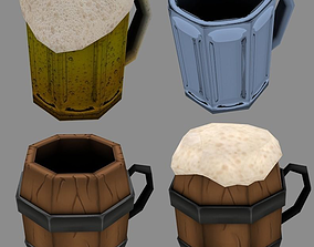Beer jars Wood and Glass 3D model