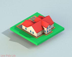 3D model Cartoon City House Red