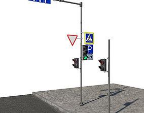 Set 02 Road Elements 3D asset