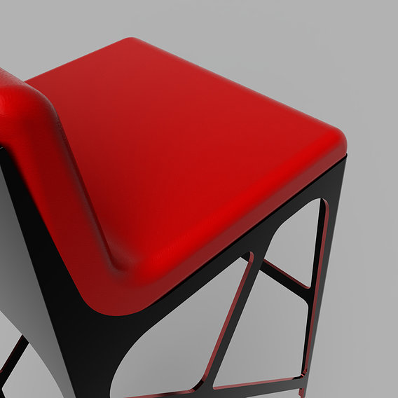 Modern Stool in red and black anodized aluminum