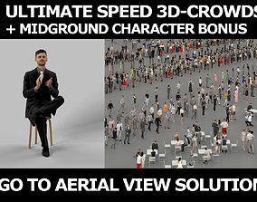 3d crowds and Posture clapping a midground Business Man
