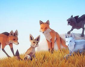3D asset Poly Art Foxes