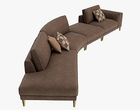 3D Four section module sofa with cushions