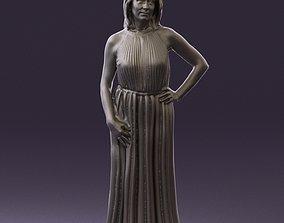 Woman in bright pink dress 0709 3D Print Ready