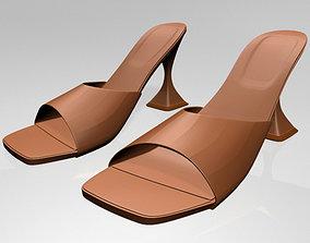 Square-Toe Spool-Heel Sandals 02 3D