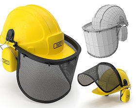 3D model Safety Helmet with Face and Ears Cover