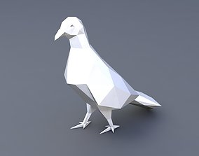 low poly pigeon 3D printable model