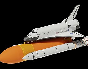 3D model Space Shuttle Side Boosters And Fuel Tank