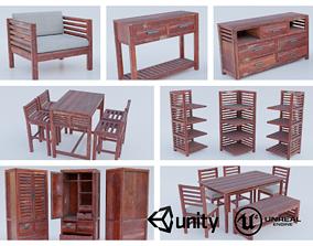 Wood Red Worn Furniture Set 3D model realtime
