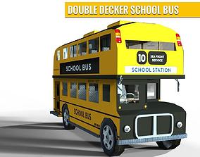 Double Decker School Bus 3D asset