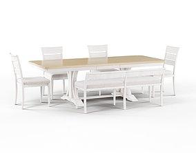 Maison Rouge Trestle Dining Table Set 3D model