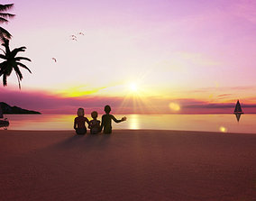 The family is watching the sunrise at the seaside 3D model