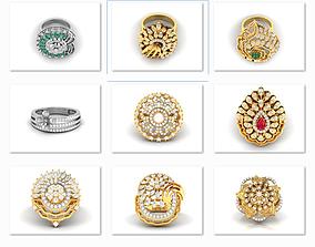 15 Women cocktail ring 3dm stl render detail rings