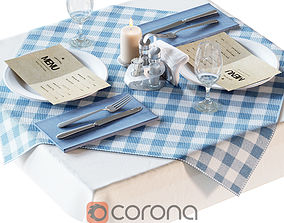 Table with table setting for a cafe 3D