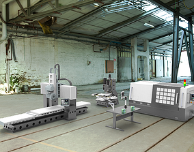 3D model animated Assembly of machining equipments