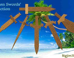 Wooden Swords collection 3D model