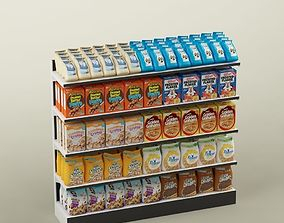 3D Storage shelving rack store cereal food