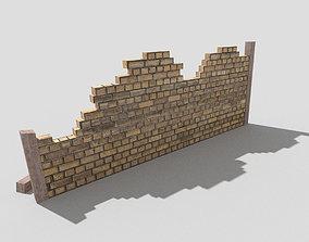 low poly broken wall 3D asset VR / AR ready