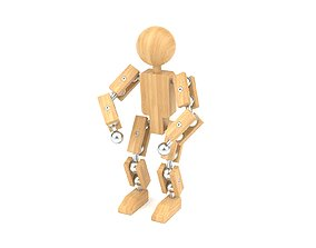 Wooden toy robot 3D