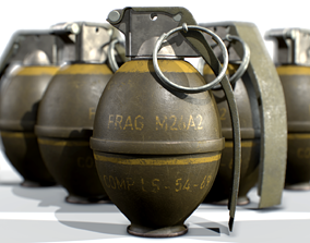American Frag hand grenade M26 3D PBR