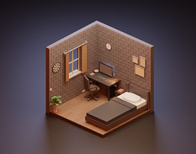 3D model Isometric Low Poly Room