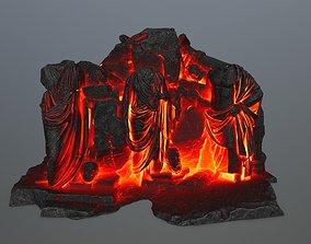 3D model low-poly lava statue