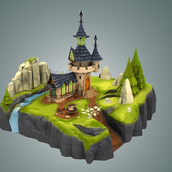 Stylized Castle for mobile game