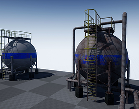 3D model Industrial spherical tanks PBR