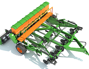 Seed Drill Disc Harrow 3D model