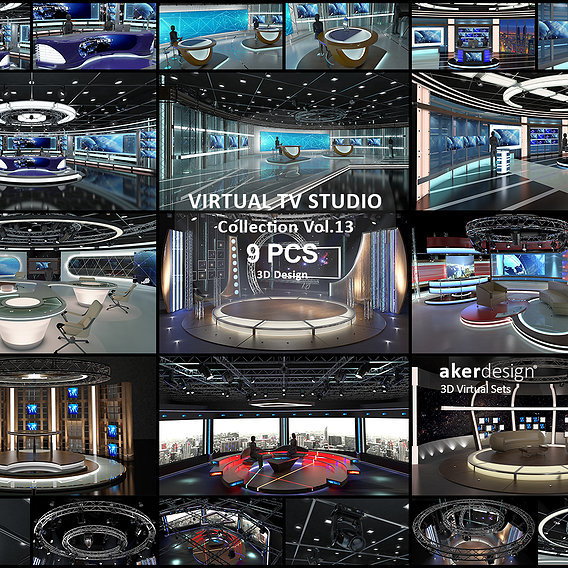 Virtual TV Studio Sets - Collection Vol 13 - 9 PCS DESIGN
