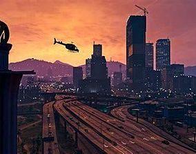 GTA 5 city 3d model game-ready