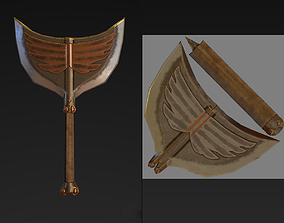 3D model One hand double sided egyptian axe