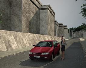 3D model Low poly car architecture