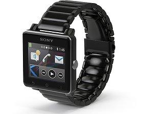 3D model Sony Smart Watch 2 Black Metal