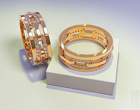 gold ring with stones in the form of a 3D printable model