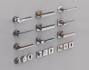 door handles set 3D nickel