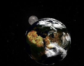 3D asset Moon and Earth