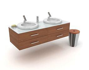 Bathroom Wooden Sink Set 3D
