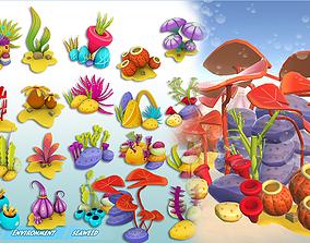 Cartoon Seaweed Pack 3D asset