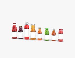 Juice Bottle set 3D model