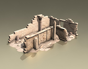 Ancient egyptian ruined temple 3D asset