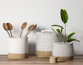 3D model decoration Decorative set with baskets