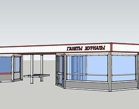 3D model newspaper pavilion