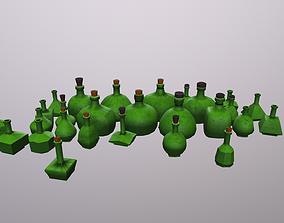 Low Poly Glass Bottle 3D asset