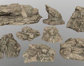 mosy rocks 3D asset low-poly