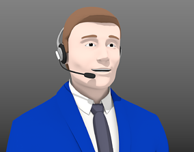 3D line Telephone Operator- With 5 Facial poses