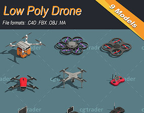 3D asset Low Poly Drone Isometric