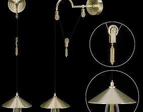 3D model Decorative Luxury Brass Aging Nightstand Lamp