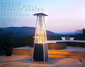 Modern Nordic Style Terrace Tower Heater 3D