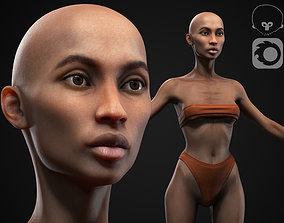 Black skinny woman body 3D model